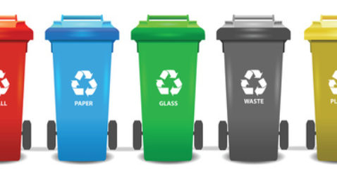 Colorful recycle trash bins isolated white, vector set. Big cont